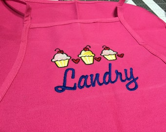 Personalized Little Girl's Embroidered Apron with Cupcake Design