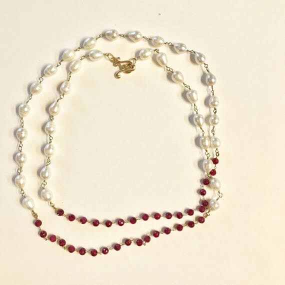 """Pearl necklace, Baroque White Pearl and Ruby Beaded Necklace, Double Wrap, 22K Gold PlatedToggle Clasp, 45"""" Long"""