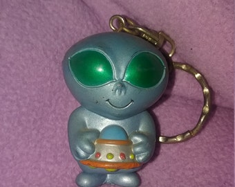 Alien with space ship keychain