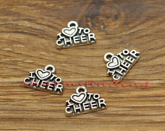 50pcs Cheer Charms I Love To Cheer Charm Antique Silver Tone 14x10mm cf1823