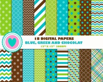 18 DIGITAL PAPERS blue, green chocolat, birthday