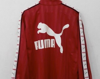 RARE!!! Puma Sport Big Logo SpellOut Red Colour Zipper Sweaters Hip Hop Swag L Size