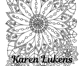Bursting With Joy, 1 Adult Coloring Book Page, Printable Instant Download, flowers