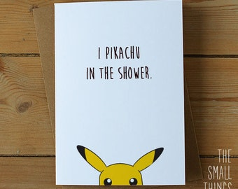 Birthday Anniversary Greetings Card Novelty Funny Rude Joke Humour Love You For him For her Pokemon Go Pikachu I Pikachu You