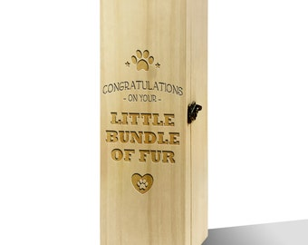 Congratulations Little Bundle Of Fur Plain Luxury Wooden Wine Box