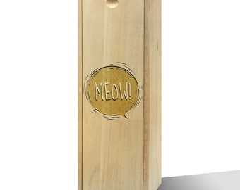 Meow! Bubble Slide Wooden Wine Box