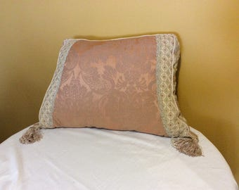 Victorian Custom Damask Pillow with Tassel Fringe by Ethan Allen