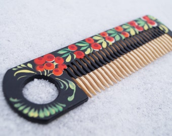 Mother's day gift Wooden comb Petrikovka comb Ukrainian gifts Gift for her for girl Natural comb Wooden hairbrush Mother gift Eco friendly