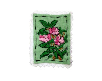 Pink Flower Stamp Patch