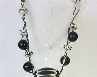 Black and White Ceramic Focal Necklace   Beaded Necklace   Handmade Necklace   Necklace