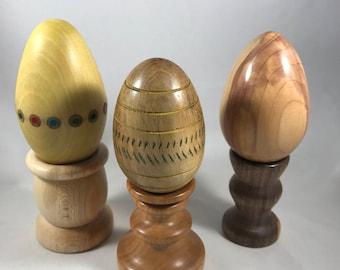 Wood Eggs on a Pedestal.
