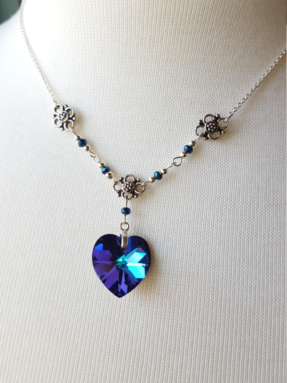 blue faceted swarovski crystal heart pendant necklace with. Black Bedroom Furniture Sets. Home Design Ideas