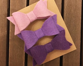 Felt Bows, Set of Felt Bows, Hair Clips, Ombre Felt Bows, Purple Felt Bows