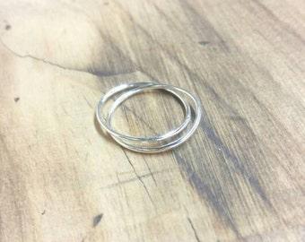 Ring 2 rings in sterling silver 925 fine cross style