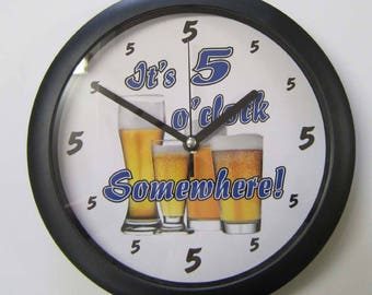 Personalised wall clock for home / bar area / pool room / games room / man cave