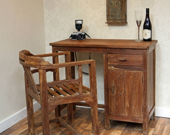 Solid Teak Vintage Desk and Chair.