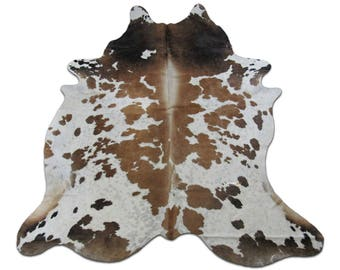 Brown u0026 White Cowhide Rug Size: 8 X 6.7 ft XL Brown and White Spotted Cow  Hide Skin Rug E-700