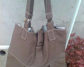 Brown cotton canvas  tote  bag hand bag
