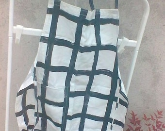 Black and white fabric apron