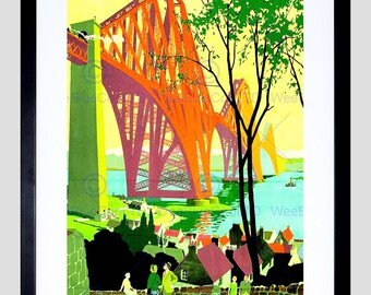 Painting Industrial Landscape Forth Bridge Dalgety Bay Scotland Poster FEBB8530