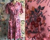 Vintage 1970s Deadstock Plus Size Polyester Floral Day Dress. XL/XXL. Butterflies, mushrooms, flowers