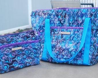 Travel set, Weekender tote set, quilted Batik tote and cosmetic bag, overnight travel set, weekender bag set, double quilted tote set,
