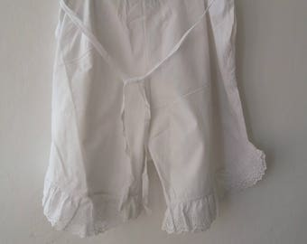 Vintage 1900s Edwardian French bloomers closed crotch /white cotton pantalons