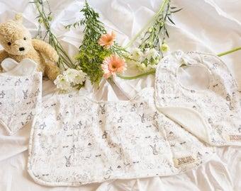 Forest Bunny, Set of 3, Burp cloths, Dribble Bib, Bib Bandana, Organic Bamboo Terry, Gift Set, Baby Shower