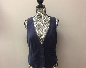 Vintage NY & Co Blue Velvet Vest