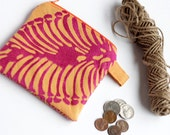 Asian Inspired Small Cloth Wallet, Women's Coin Bag, Purse Organizer, Zipper Bag, Upcycled Purse, Orange Coin Purse, Orange Wallet, Stocking
