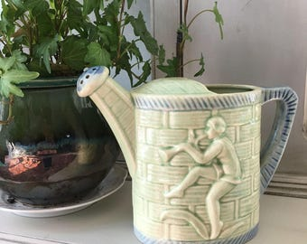 Green and Blue Vintage Watering Can Vase Planter Container with Dancing Musician 1950s Japan