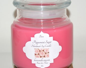 SALE Peppermint Sugar 16oz Large Soy Candle