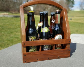 Custom Solid Walnut Beer Caddy