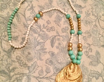 Seafoam green & gold oyster necklace