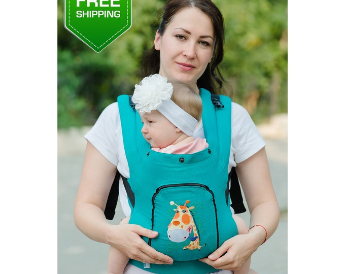 Linen Buckle Baby Carrier Jiraffe, Baby Carrier, Buckle baby carrier, toddler carrier.