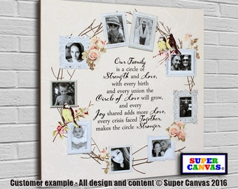 Circle of Love personalised bespoke framed Canvas Print with 9 pictures