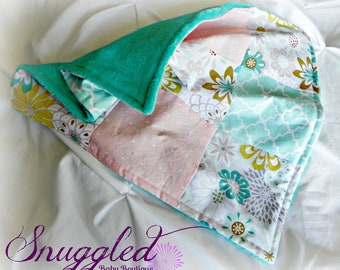 Soft Floral Patchwork Minky Security Blanket- Lovey