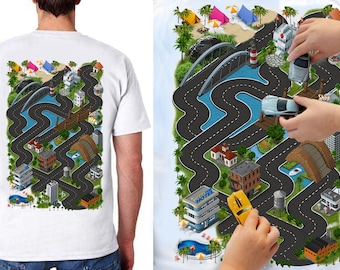 Car Play Mat Shirt for Dad. Race Track Shirt. Roads on Back. Road Map Shirt. Massage Shirt. Christmas Gift for Dad and Son. New Dad.
