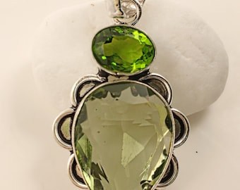 """Green Amethyst With Peridot Topaz 925 Sterling Silver Pendant 2.1"""""""