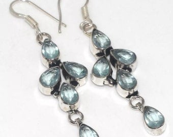 Blue Topaz Dangle Silver Earrings