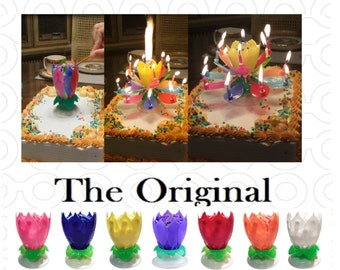 2 Rainbow (Multicolored) Amazing Lotus Flower Happy Birthday Exciting Candles®