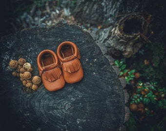 Leather Baby Moccasin in Tan