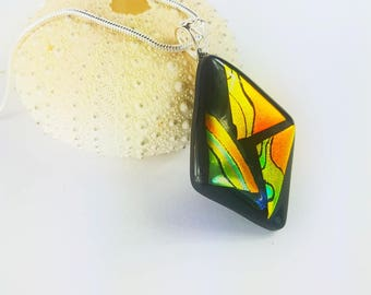 Fused Dichroic Glass Pendant with 2mm Sterling Silver Snake Chain Necklace- Glass Pendant Necklace Reflective Orange Yellow Green Colours