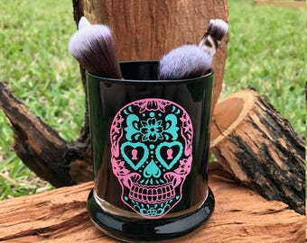 Sugar Skull Make Up Brush Holder, Sugar Skull, Make Up Brush Holder, Make Up, Brush Holder, Personalized