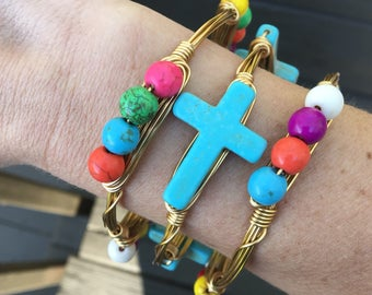 Turquoise Cross/Multi Color Beaded Bangle Duo
