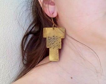 Brass Aztec earrings, bohemian brass earrings, bronze patina earrings, geometrical earrings, tribal bronze earrings, gift for her