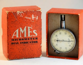"AMES Micro meter Dial Indicator. No. 201  0-50-0 AGD Range .0250"" By .001"""