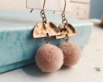 Pom Pom Earrings with Interesting Design in Pastel Colour and Vintage Gold nickel free