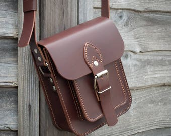 Leather Satchel Bag, Small Messenger Bag, Shoulder Bag, Crossbody leather Bag