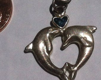 Vintage Silver Colored Bracelet, Dolphins, Heart, Nice Vintage Bracelet, Wildlife, Nature, Habitat, Ocean, Porpoise, 2 Dolphins Jumping